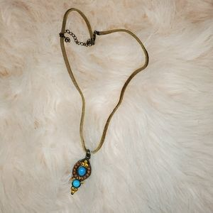 Jewelry - Turquoise and Gold Rhinestone Necklace
